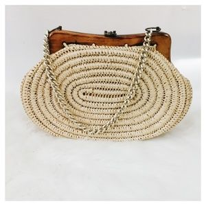 Vintage Wood Frame and Crochet Chain Purse